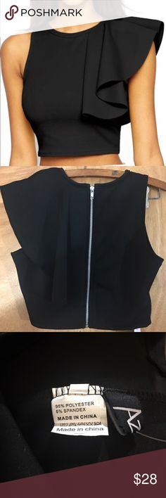 One Shoulder Ruffle Crop Top in Black One-shoulder Ruffle Crop Top in black. It's elegant and sexy as well from any angle. Breathable tight bodice with one shoulder design and ruffle detail on left is more chic, back zipper closure, this admired crop top is perfect to pair with snug fit pants or skirt.  95% Polyester and 5% Spandex.  Machine wash cold. Tops Crop Tops