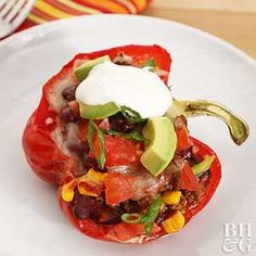 Taco-Stuffed Peppers- Stuffed peppers are a retro recipe idea that's back in a big way. Here we stuffed the pepper with all the most delicious taco flavors for a family-friendly dinner recipe idea. Retro Recipes, Mexican Food Recipes, Beef Recipes, Dinner Recipes, Cooking Recipes, Healthy Recipes, Pepper Recipes, Mexican Dishes, Dinner Ideas