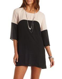 color block chiffon shift dress