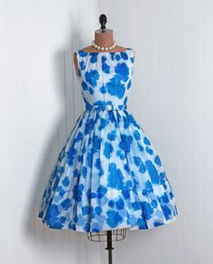 $300.00 1950's Vintage Blue-Roses Watercolor Floral-Garden Scenic Botanical-Print Sheer Chiffon-Couture Sleeveless Belted-Waist Rockabilly Ballerina-Cupcake Princess Full Circle-Skirt Swing Bombshell Back Bow-Train Wedding Formal Cocktail Prom Party Dress