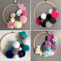 輪を毛糸でくるむ Décoration murale en pompons et fleurs tissus : Décoration pour enfants par marcelmeduse Pom Pom Crafts, Yarn Crafts, Diy And Crafts, Craft Projects, Crafts For Kids, Arts And Crafts, Pom Pom Wreath, Handmade Crafts, Diy For Kids