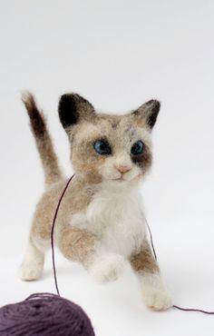 Needle Felted Kitten Felted Kitten Sculpture by YvonnesWorkshop