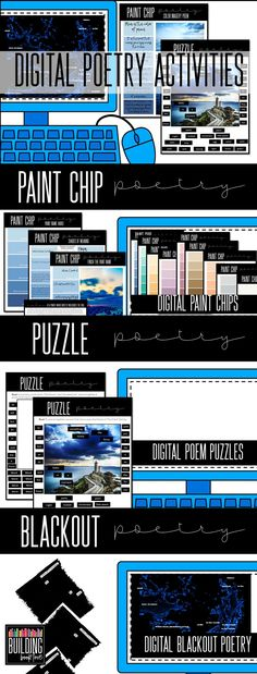 Digital Poetry Activites that pair with any text! This is a perfect way to incorporate poetry throughout the year and especially during National Poetry Month! Includes paint chip poetry, digital blackout poetry, and puzzle poetry!