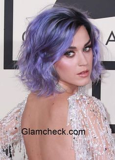 Katy Perry sports lavender Hair Color during the 57th Annual GRAMMY Awards Arrivals