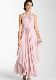 Eliza J Embellished Tiered Chiffon Halter Gown available at Mother of the Bride Dress ? Mob Dresses, Nice Dresses, Bridesmaid Dresses, Formal Dresses, Bridesmaids, Bridesmaid Ideas, Fashion Dresses, Wedding Dresses, Pink Evening Dress