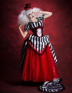 Queen of Hearts?? Gothic Burtonesque Steampunk Striped Victorian Gown by Darkspectre, $550.00