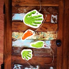 Hand and foot print ornaments created at Art by You at Weirdgirl Creations Pottery Studio in Barrington RI