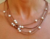 Freshwater Pearl and Leather Necklace 5 Strand Brown Peacock. $89.00, via Etsy.