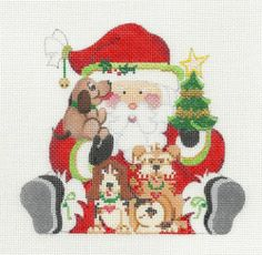Strictly Christmas Puppy Dog Santa with Tree Handpainted HP Needlepoint Canvas   eBay  $60