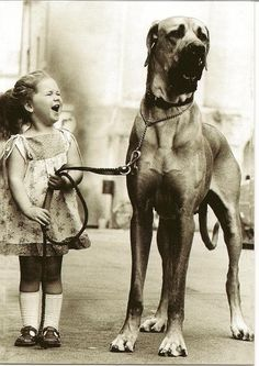 Awww... cute girl with her massive dog.
