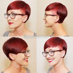 short red asymmetrical haircut for girls
