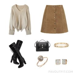 Outfit Inspirations Including Sweater Suede Skirt Tom Ford Boots And Balenciaga Handbag From December 2015 #outfit #look