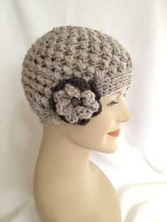 Crochet Beanie  Grey Puff with Flower by NydiaFierroDesigns, $20.00