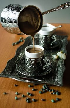 Turkish coffee recipe in six step detailed guidance. Description of utensils needed for making & serving. Coffee brands making best Turkish coffee recipe. I Love Coffee, Coffee Break, My Coffee, Morning Coffee, Coffee Plant, Coffee Corner, Coffee Signs, Coffee Angel, Coffee Scrub