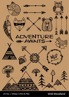 Wild Woodland Clipart, Arrows, Feather, Bear, Mountain, Toadstool, Hipster, Clip Art, Adventure, Teepee, Acorn, Forest Animals, Wilderness by sleepyfoxprints on Etsy https://www.etsy.com/au/listing/481533678/wild-woodland-clipart-arrows-feather