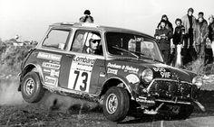 Lombard RAC Rally GB in 1975, a Mini trying hard.