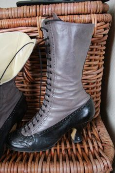 Victorian grey & black leather boots  US 9 / UK 6.5 by Bawdyhouse