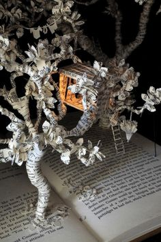 LITERARY ART: Su Blackwell, The Baron in the Trees, 2011. Secondhand book, lights, glass, wood box.