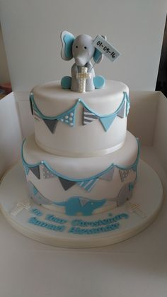 Blue, white and grey, baby christening cake Mais Baby Christening Cakes, Baby Boy Cakes, Cakes For Boys, Baby Shower Cakes, Baby Baptism, Baby Dedication Cake, Elephant Cakes, Elephant Theme, Healthy Recipes