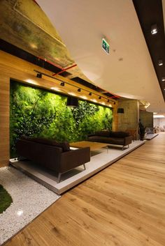 "green wall in reception space: ""Deloitte Turkey Headquarters Offices"" Modern Office Design, Workplace Design, Office Interior Design, Office Designs, Office Lounge, Office Reception, Corporate Interiors, Office Interiors, Commercial Design"