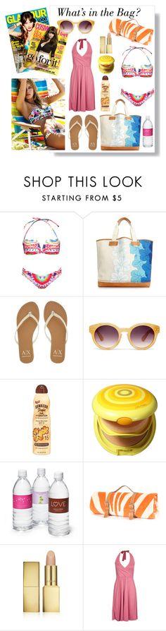 """What's in My Beach Bag"" by eirini-eirinaki ❤ liked on Polyvore featuring Seafolly, Mara Hoffman, Tommy Hilfiger, Armani Exchange, Madewell, Hawaiian Tropic, Shiseido, AERIN, Pier 1 Imports and Beachbag"