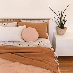 The polka dots on the bed create just enough differentiation with the monochrome pillows while maintaining harmony. The polka dots on the bed create just enough differentiation with the monochrome pillows while maintaining harmony. Dream Bedroom, Home Bedroom, Bedroom Decor, Modern Bedroom, Contemporary Bedroom, Master Bedroom, Master Suite, Pretty Bedroom, Bedroom Colors