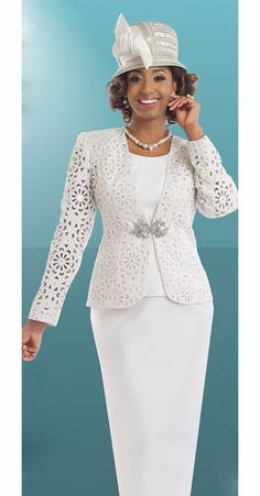 adf7adffca6 Donna Vinci 11547 Three Piece Laser Cut Ladies Church Suit Church Attire