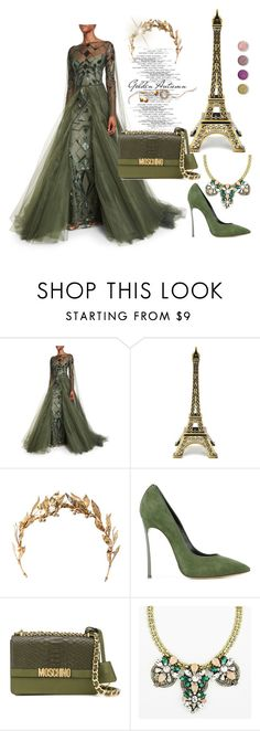 """""""Party Queen"""" by amy0527 ❤ liked on Polyvore featuring Monique Lhuillier, Casadei, Moschino and Terre Mère"""