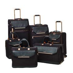 Luggage Ted Baker Albany Collection TBW5001 4 Wheel Large Case Black Rose Gold
