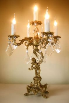 The Painted Room Chandelier, Candlelabra, Cherub Candelabras, Chandelier Lighting, Beautiful Chandelier, Candlelight, Decorative Table Lamps, Vintage Decor, Elegant Lighting