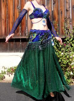 Professional Ameynra Belly Dance Costume WT Peacock Feathers Green Blue Sz M New | eBay