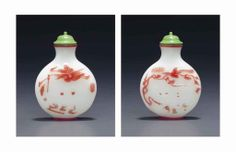A red-overlay white glass snuff bottle