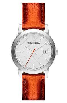 Burberry Round Metallic Leather Strap Watch, 34mm | Nordstrom