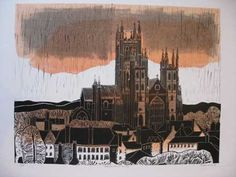 Robert Tavener  Canterbury Cathedral - West Front   Linocut on wove paper  c. 1970  signed, titled and numbered 8/75 in pencil  48 x 62.5cm. (plate); 60 x 83cm. (sheet)