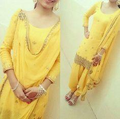 punjabi patiala salwar suit in yellow color Punjabi Fashion, Bollywood Fashion, Indian Fashion, Designer Salwar Kameez, Bridal Anarkali Suits, Patiala Salwar Suits, Punjabi Dress, Punjabi Suits, Punjabi Girls