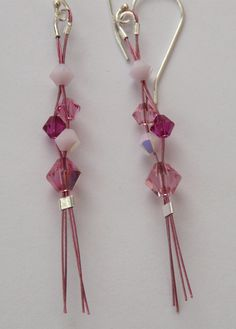 Sterling Silver Pink Crystal Earrings