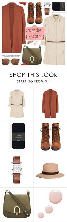 """""""Harvest Time: Apple Picking"""" by anyasdesigns ❤ liked on Polyvore featuring MANGO, Eileen Fisher, J.Crew, Sam Edelman, Hermès, Brooks Brothers, MICHAEL Michael Kors and Topshop"""