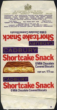 Cadbury's - Shortcake Snack candy bar wrapper - 1970's ….. Loved these