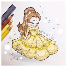 ONLINE NOW!!! Link in bio! Belle Chibi version!  #belle #beautyandthebeast #debbyarts #draw ...
