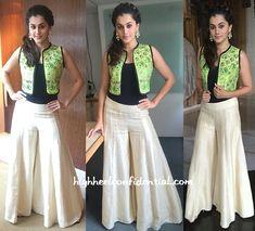 Taapsee was photographed wearing Vismaya Couture while at a recent press meet… Sari Blouse Designs, Dress Neck Designs, Kurta Designs, Western Dresses, Indian Dresses, Indian Outfits, Indian Attire, Indian Wear, Diwali Dresses