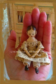 "4"" Izannah Walker style doll by Nancy Gerber of ""Atticbabys"" 2016"