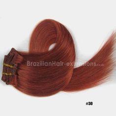 7Pcs Full Head Clip In Hair Extensions 100% Human Remy Hair #30 Light Auburn