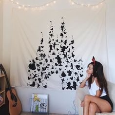 So proud of my DIY Disney castle tapestry! My bedroom is now complete ✨
