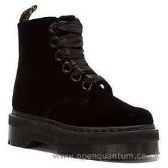 Buy Women Dr. Martens Molly 6-Eye Boot Black Ze You Velvet R16084001 - Ankle…