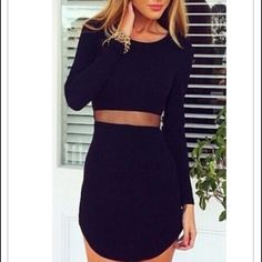 """LBD Little Black Dress - Zipper in back, mesh """"belt"""" see through. cotton. make offers!!! NWT - Ordered online but they dont make tags through this website but it is never worn! comes in plastic from online site Dresses Mini"""
