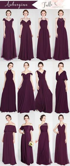trending aubergine fall bridesmaid dress color ideas #wedding #weddinginspiration #bridesmaids #bridesmaiddress #bridalparty #maidofhonor #weddingideas #weddingcolors