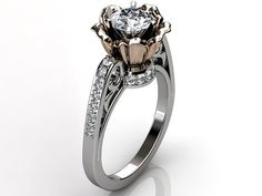 14k two tone white and rose gold diamond unusual by Jewelice, $1475.00