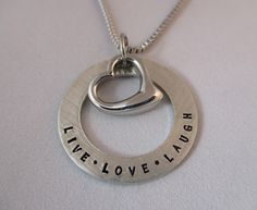 Pewter Heart Loop Necklace