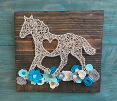 Horse String Art Horse with Flowers Wood Sign Custom Wall