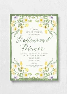 Handmade custom illustrations, watercolor, and stationery. Bohemian Wedding Theme, Bohemian Bride, Yellow Wildflowers, Emily Rose, Rehearsal Dinners, Wild Flowers, Rsvp, Wedding Day, Stationery